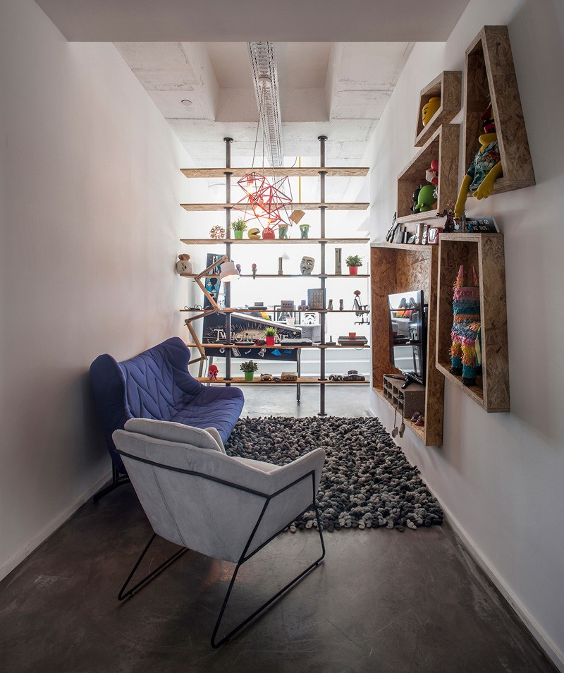 An assortment of geometrically shaped shelving