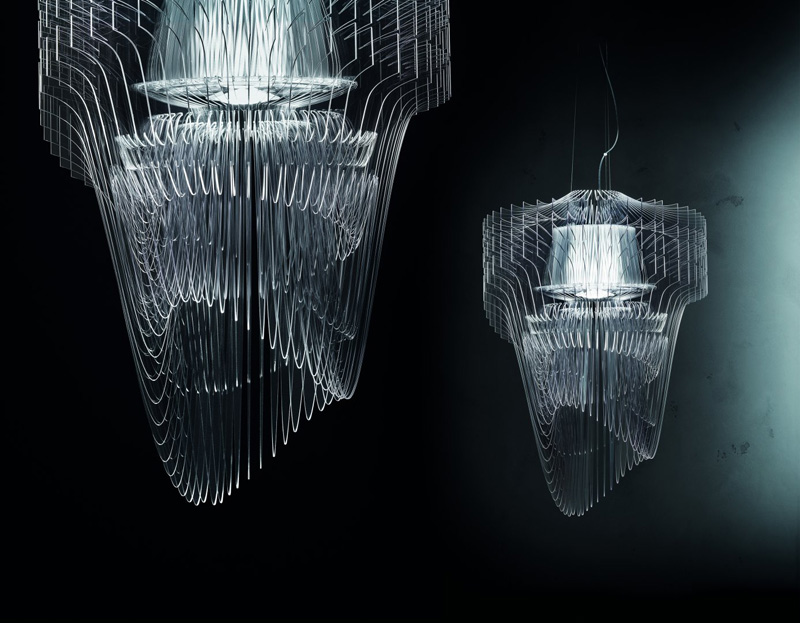 Zaha hadid designs transparent chandelier contemporist aria transparente chandelier by zaha hadid architects mozeypictures Choice Image