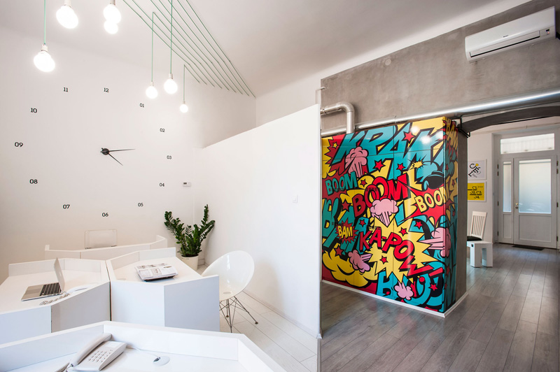 This Office Is Filled With Graphics And Artwork Inspired