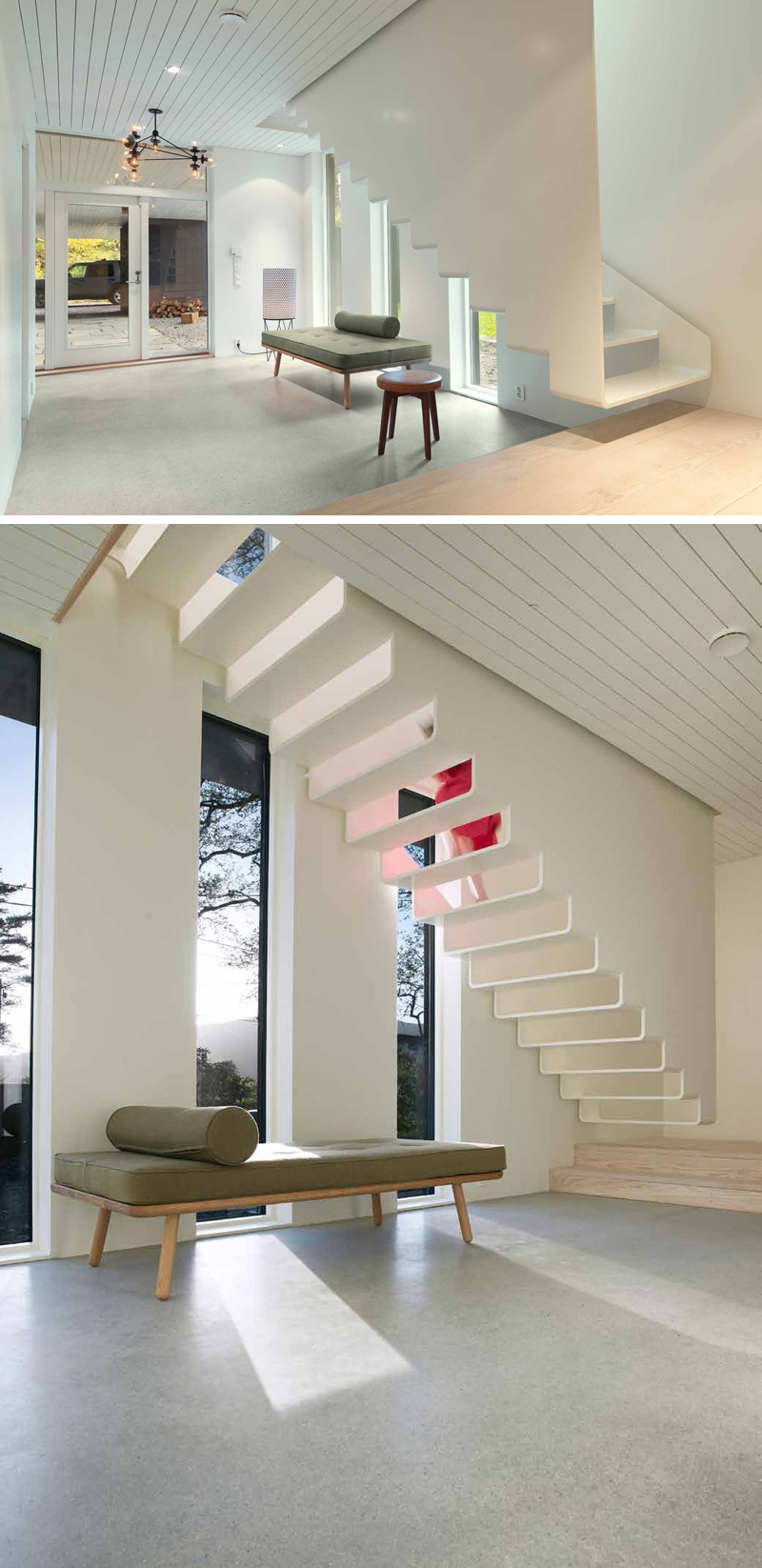 Contemporary White Stairs You Can See-Through