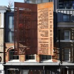 A Rusty Steel Screens Lists The Occupiers Of This Building Since 1158