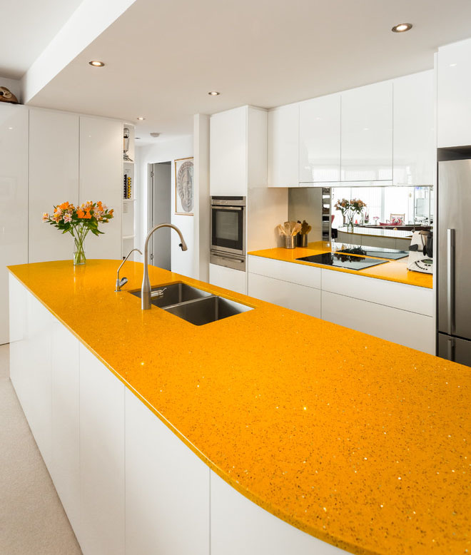 Yellow kitchen counter top