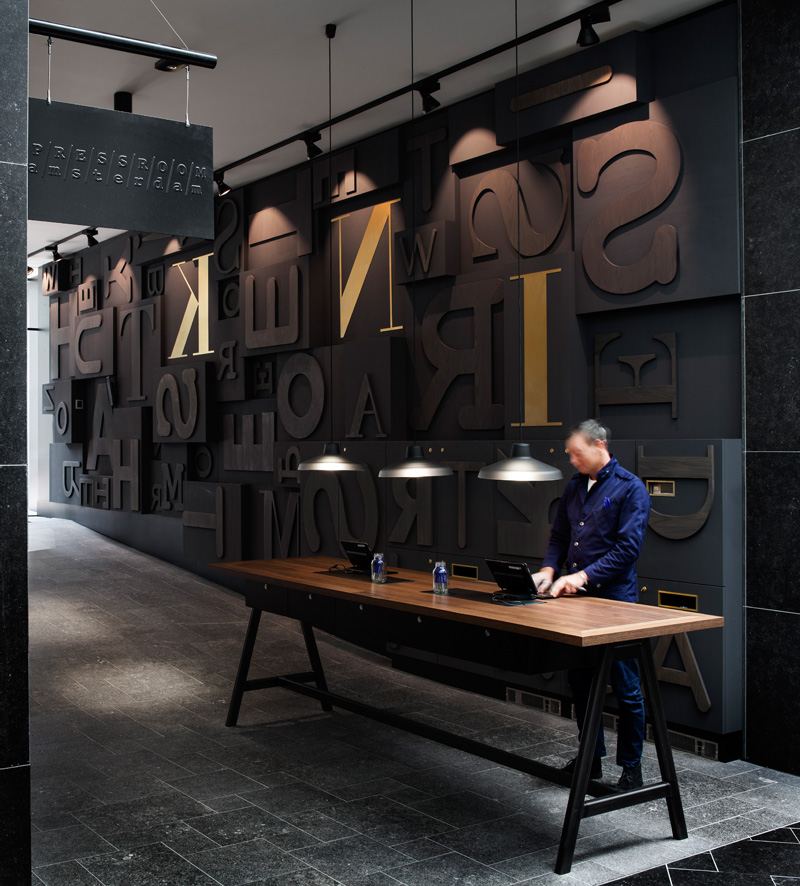 Blocks of letters express the history of this new hotel in for Design hotels amsterdam