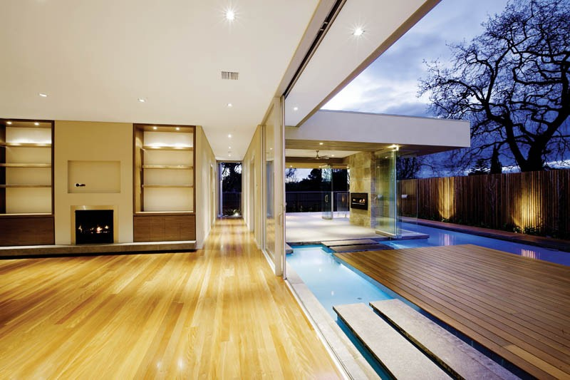 Floating island deck in a swimming pool