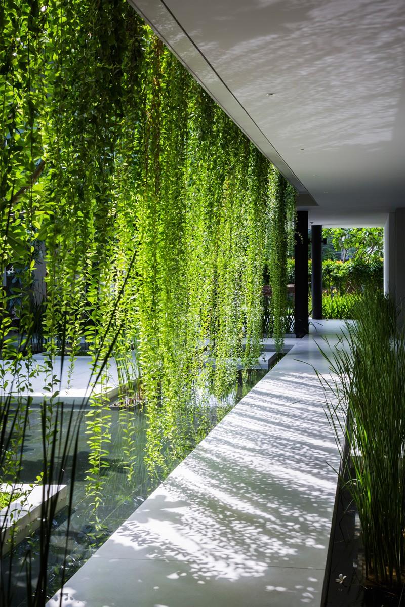 A walkway through hanging gardens