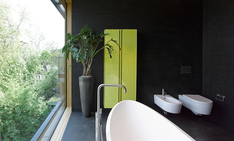 Black bathroom walls and floor