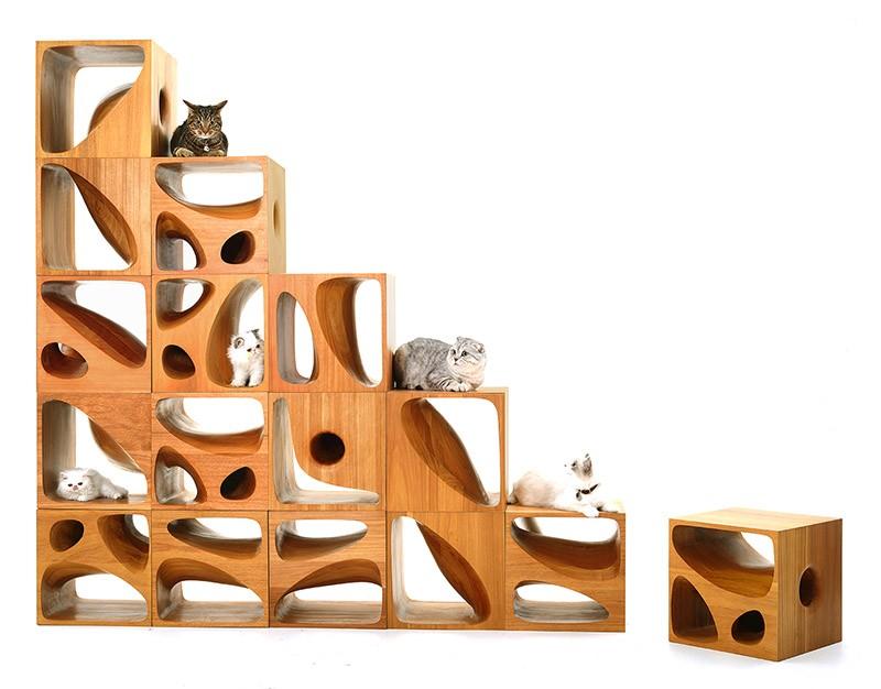 Sculptural Wood Cubes Designed For Playful Cats