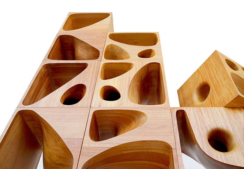 Sculptural wood cubes designed for playful cats contemporist for Architecture and design dog house