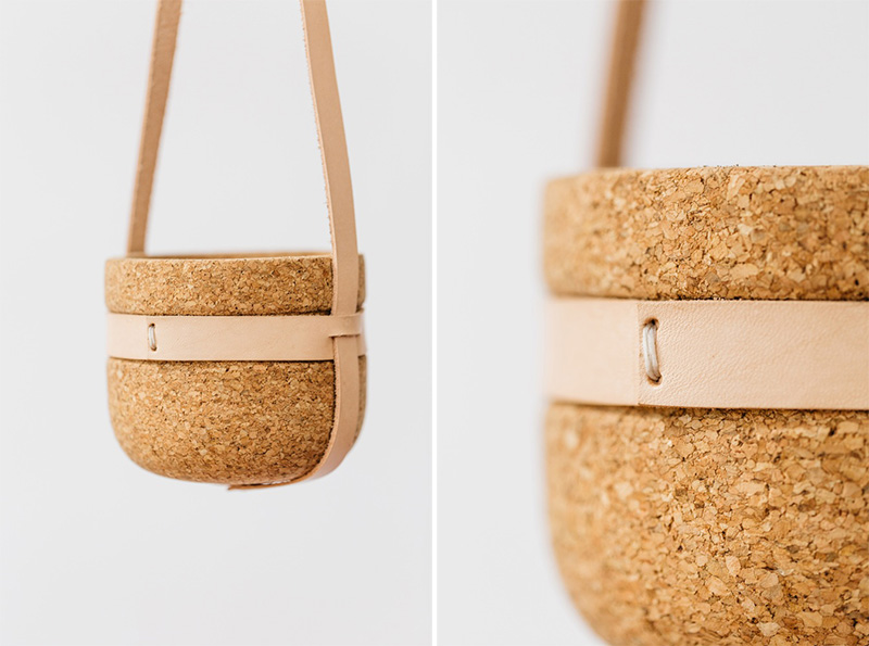 Melanie Abrantes Designs Hanging Cork & Leather Planters