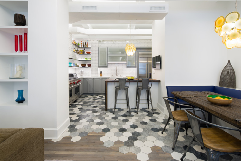 A creative way to transition between hexagonal tiles and for Carrelage hexagonal parquet