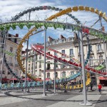 Artist Baptiste Debombourg Creates A Sculpture That Looks Like A Roller Coaster Of Chairs
