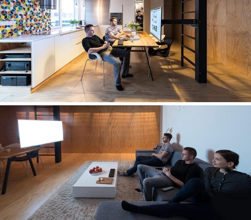 To Get Rid Of Clutter, This Apartment's TV Doubles As A Computer Screen
