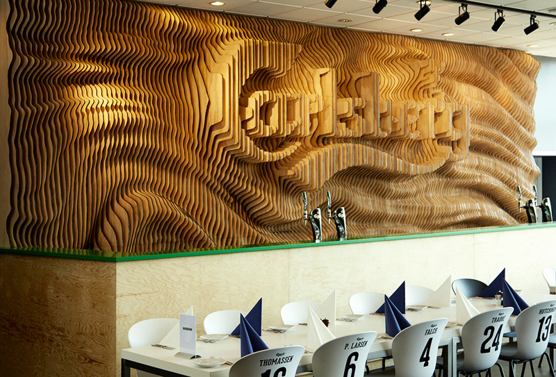 Wall Of Wood designers create a wall for carlsberg from 160 laser cut pieces of