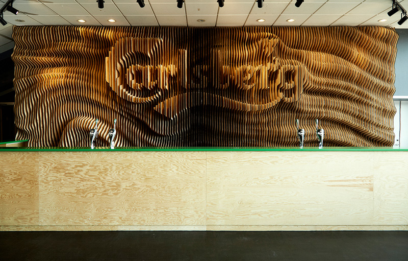 Designers Create A Wall For Carlsberg From 160 Laser Cut Pieces Of Wood