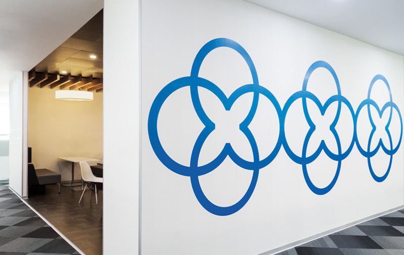 all the wall graphics in this office were inspired by indian folk art contemporist