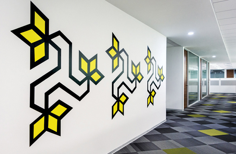 All The Wall Graphics In This Office Were Inspired By Indian Folk