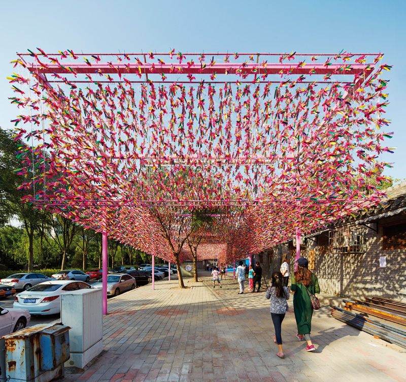 This Pavilion In Beijing Features 15,000 Brightly Colored Shuttlecocks