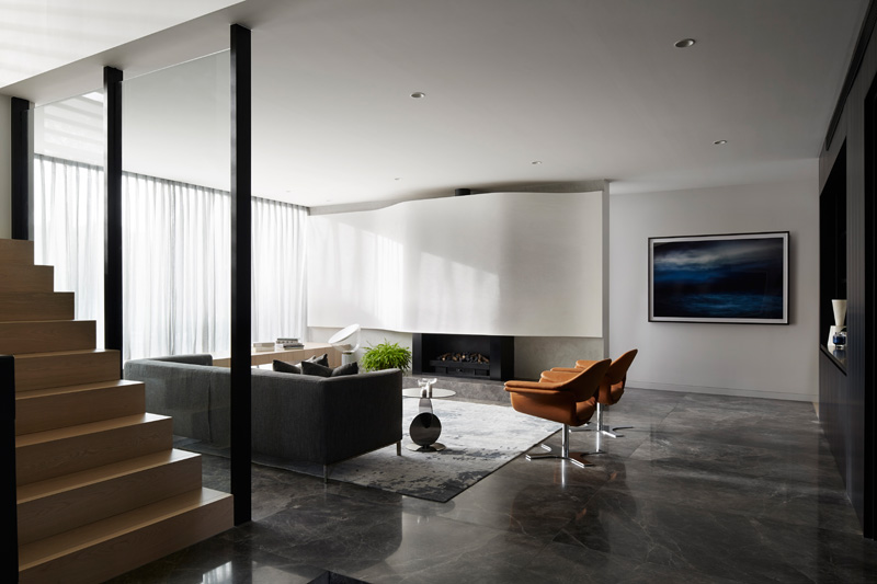 a sense of balance and calm is a theme throughout this home 39 s interior contemporist. Black Bedroom Furniture Sets. Home Design Ideas