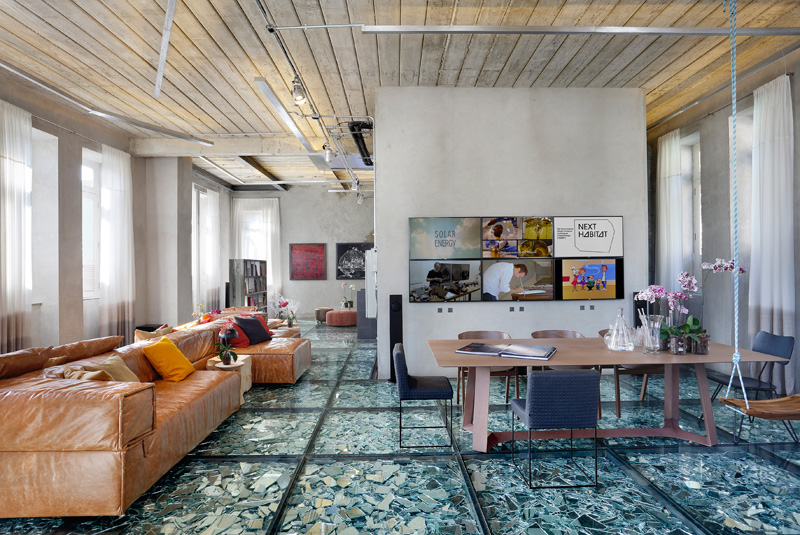 This Interior Has A Suspended Glass Floor Filled With Mirror Shards
