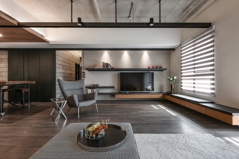 A Palette Of Wood, Metal, And Concrete For This Apartment Interior In Taiwan