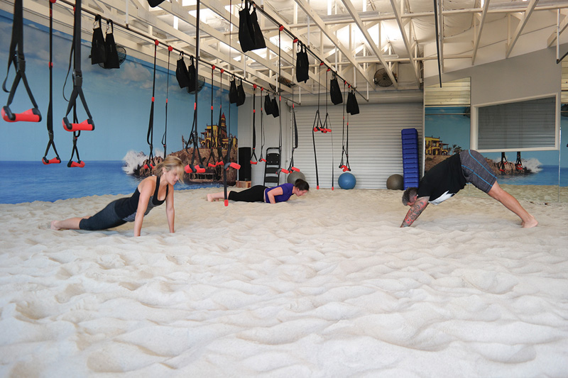 This gym filled the room with sand to make workouts more challenging