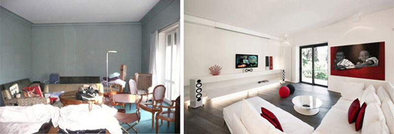 Before and after photos of an apartment transformation in Rome