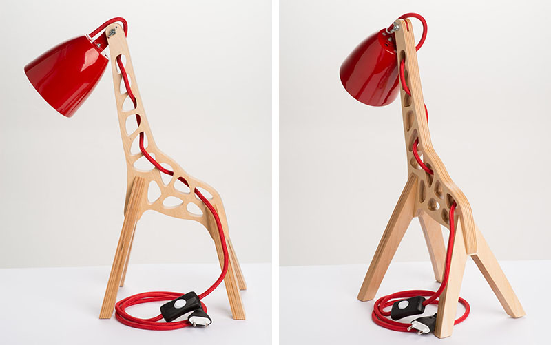 These lamps were inspired by giraffes standing majestically next to Acacia trees