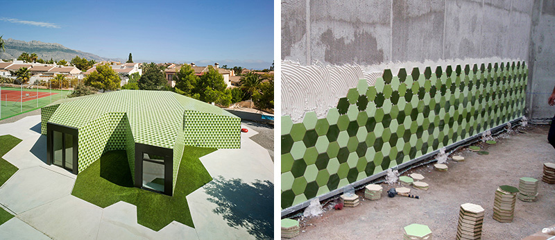 An Administrative Building In Spain Is Covered In Thousands Of Green Hexagonal Tiles