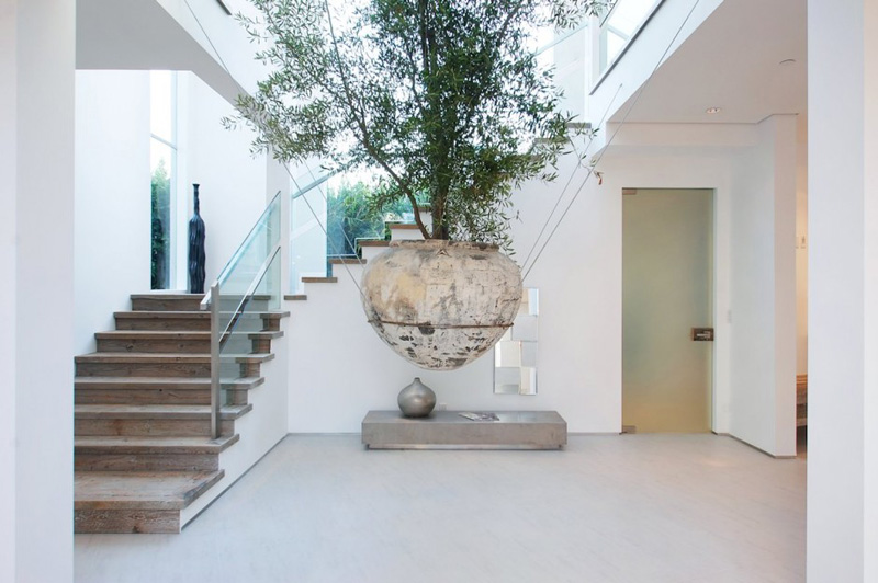 A large suspended planter is an attention-getting feature inside this house
