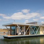 This floating home was designed to fit into two shipping containers, so it can be sent anywhere in the world