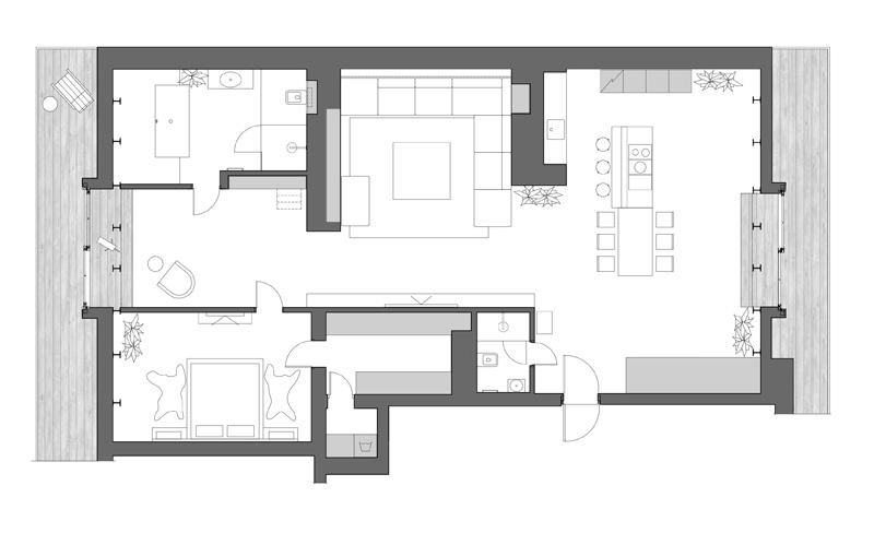 FLOOR PLAN - ArchObraz architectural studio have designed the interior of a modern apartment in Kiev, Ukraine.