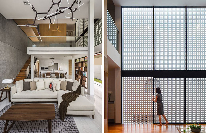 This house lets light in but maintains privacy with a large screen wall contemporist for Interieur moderne