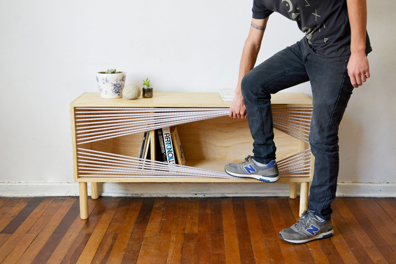 Chilean designer Emmanuel Gonzalez Guzman, has designed and made Cuerda (in English it translates to rope or string), a wooden sideboard that was inspired by the ropes of a boxing ring.
