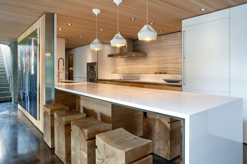 A contemporary wood and white kitchen