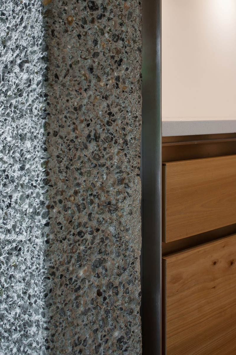 This is what a wall of bush-hammered concrete looks like