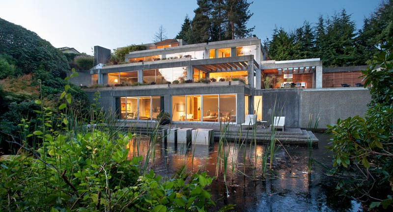 Modern concrete house in Vancouver Canada