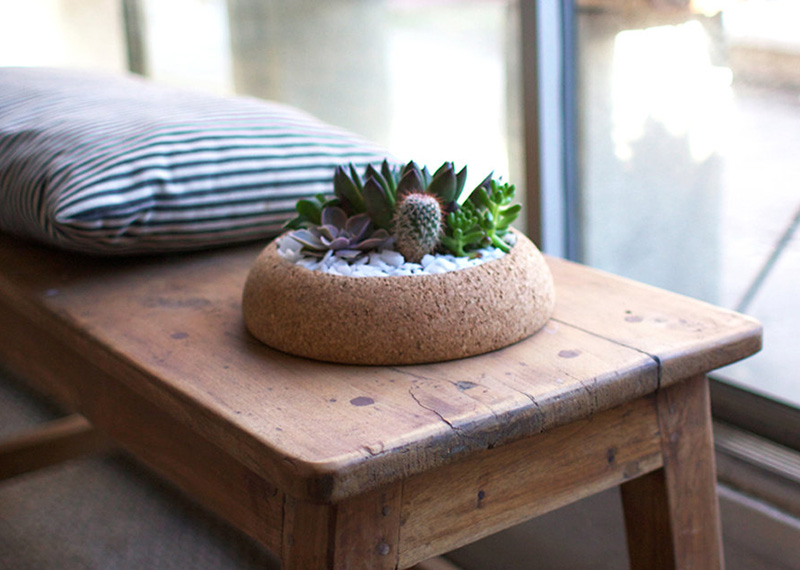 These round cork bowls are hand-turned in Oakland, California by Melanie Abrantes  #Planters #SmallPlanters #Plants #Decor #HomeDecor #GiftIdea