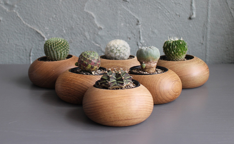 These smooth wood planters by WoodenBorough are inspired by pebbles and made from teak.  #Planters #SmallPlanters #Plants #Decor #HomeDecor #GiftIdea