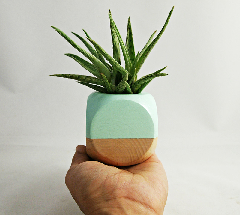 This hand painted wood colorblock planter by Sea & Asters is designed for air plants, small succulents and cacti. #Planters #SmallPlanters #Plants #Decor #HomeDecor #GiftIdea