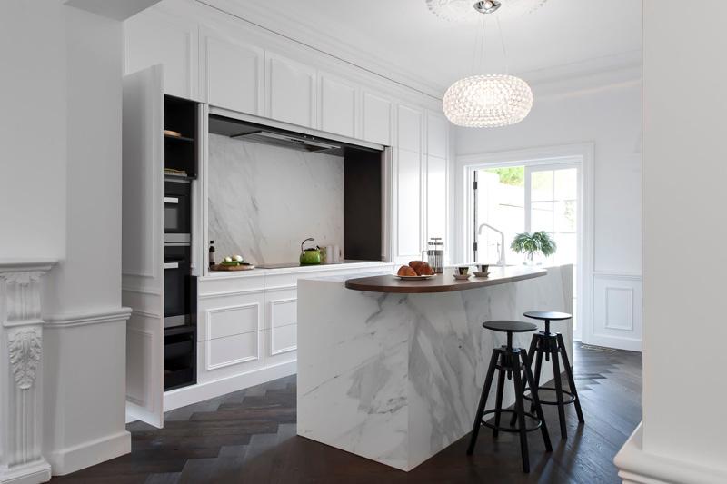 Kitchen Black Worktop Wooden Cupboards