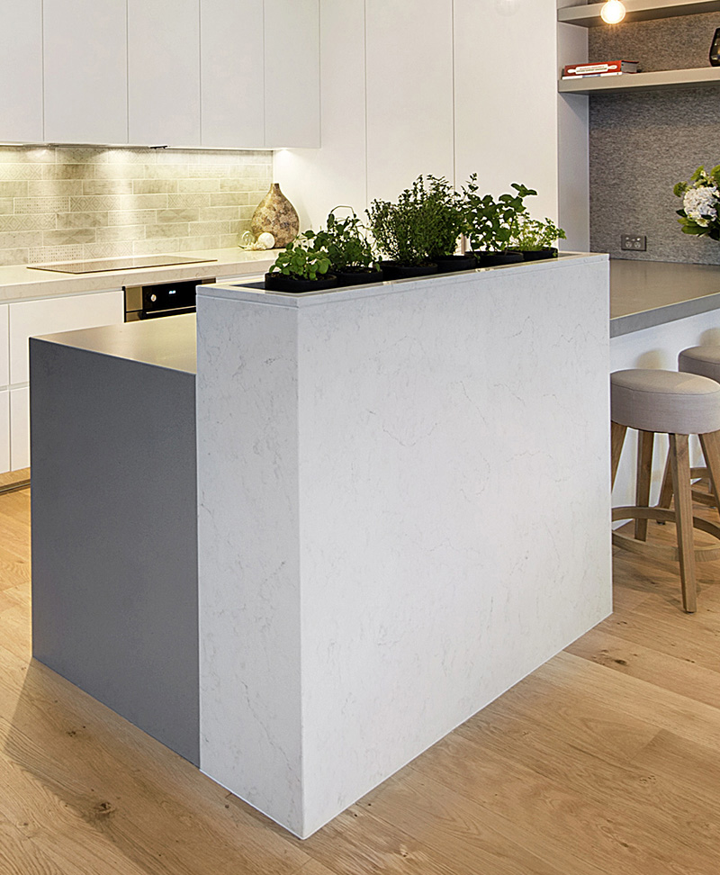 This kitchen has a built-in herb garden