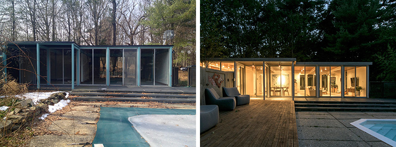 Before and After –  A mid-century modern pool house converted into a contemporary two-bedroom home