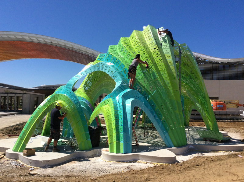 Pleated Inflation, a permanent informal amphitheater, designed by MARC FORNES / THEVERYMANY