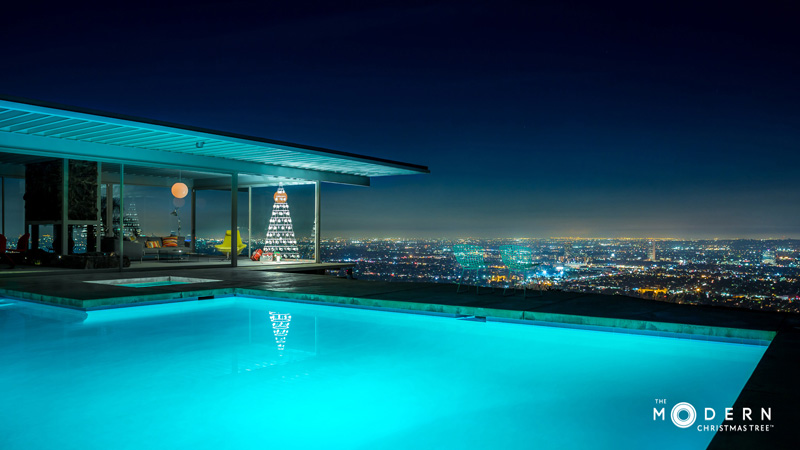 The Modern Christmas Tree Company just did a photo shoot in the iconic Stahl House In Los Angeles