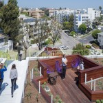 A new student and faculty housing building in Los Angeles has a multitude of social rooftop spaces