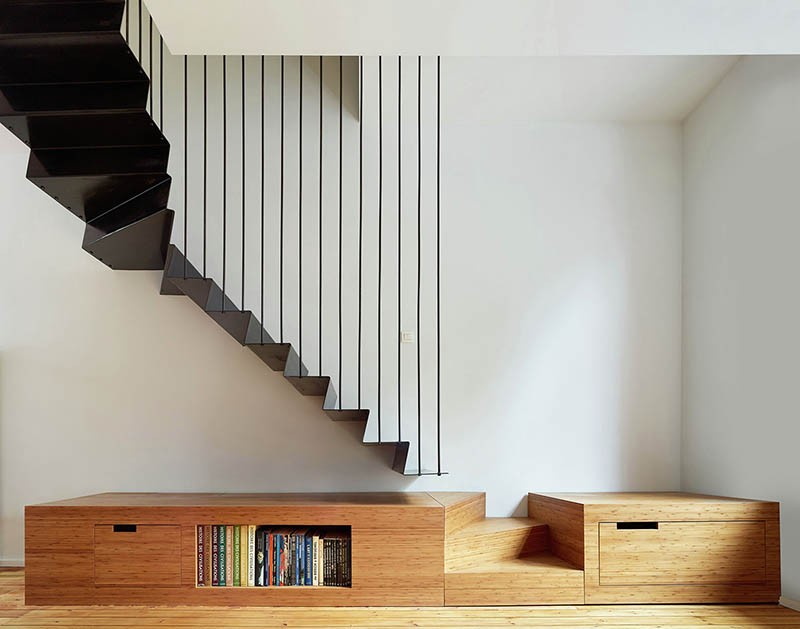 A suspended steel staircase
