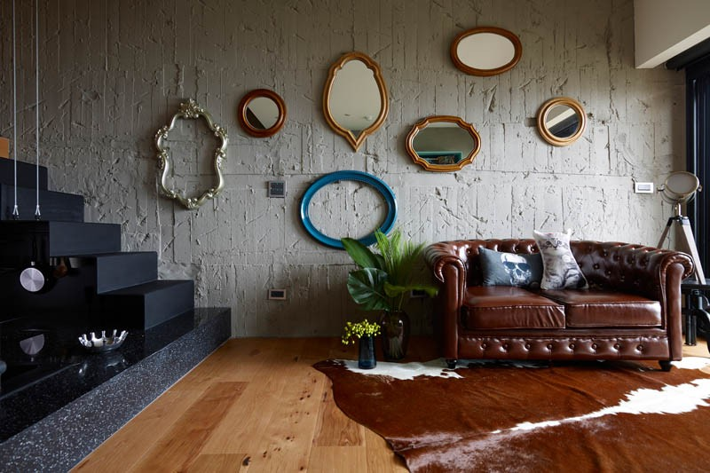 An apartment with an eclectic mix of decor