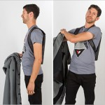 This thin laptop backpack is designed to be worn under a jacket