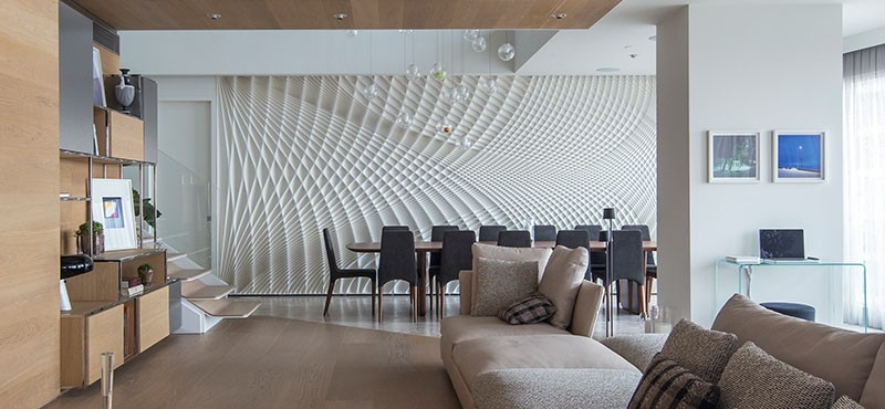 Sculptural feature wall