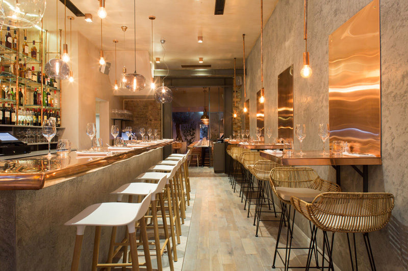 Inside this new restaurant in london is a copper lovers for Restaurant design london